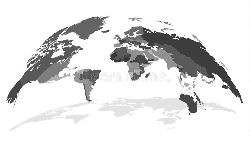 与阴影的详细的世界地图 全球性安全概念 皇族释放例证