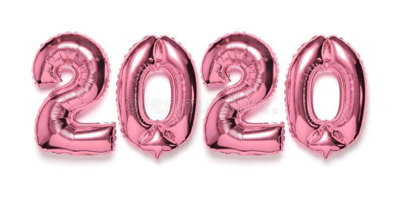 与阴影的2020个可膨胀的桃红色银色数字在白色被隔绝的背景 新年冬天装饰,假日标志,党 库存照片