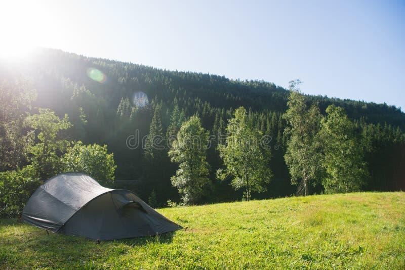 与阵营帐篷森林的夏天风景在Gudvangen 免版税库存图片