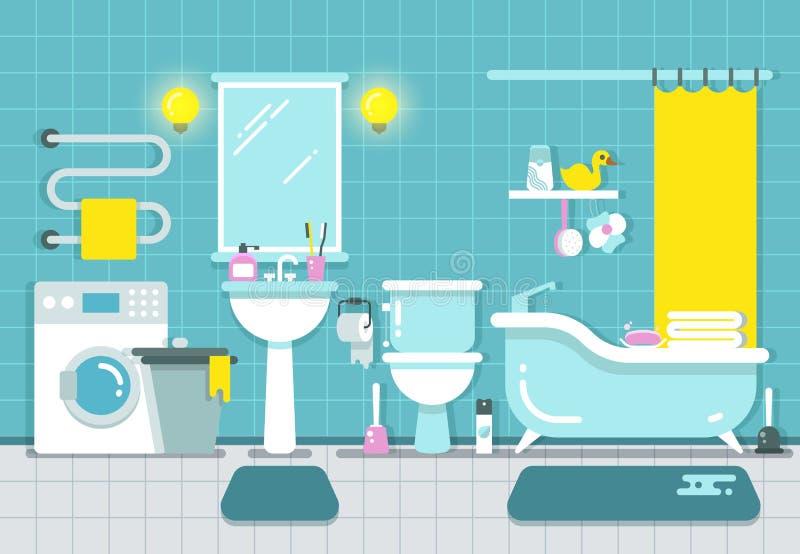 与阵雨的卫生间家庭内部,浴和水盆导航例证 皇族释放例证