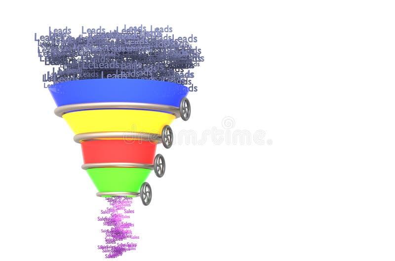与阶段的企业infographics销售集中3d例证 向量例证