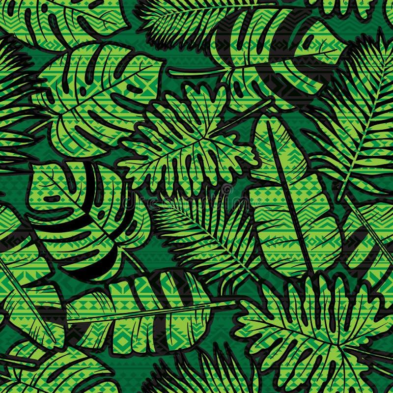与阿兹台克人的无缝的热带密林印刷品镶嵌了样式 库存例证