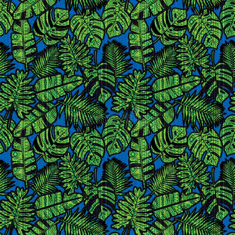 与阿兹台克样式的无缝的热带密林印刷品 库存例证