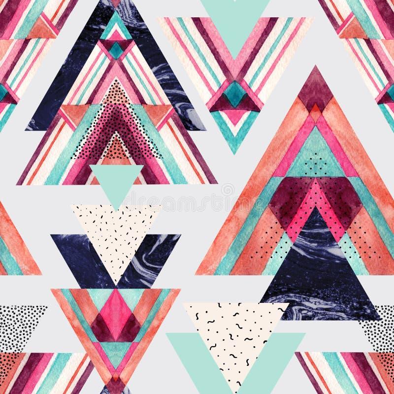 与阿兹台克装饰品,水彩,乱画的三角,黑 库存例证