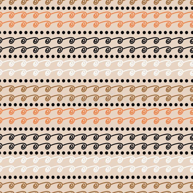 与阿兹台克部族条纹画的手拉的淡色无缝的样式传染媒介 皇族释放例证