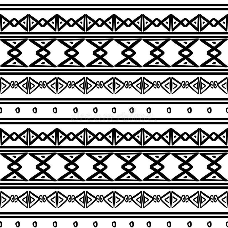 与阿兹台克非洲画的标志的传染媒介部族样式在黑白 r 向量例证