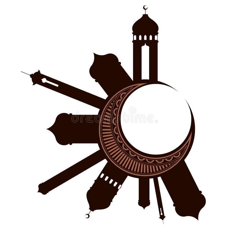 与阿拉伯寺庙的月亮 ramadan的kareem 向量例证