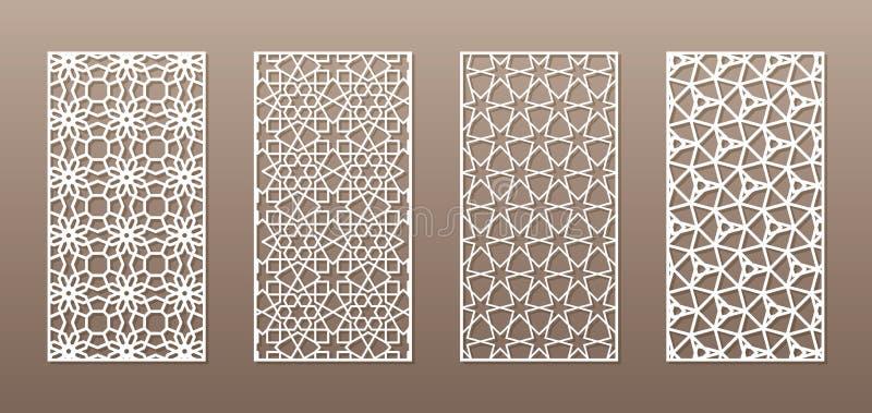 与阿拉伯样式,回教girih几何样式的透明的剪影 画适用于背景,邀请 皇族释放例证