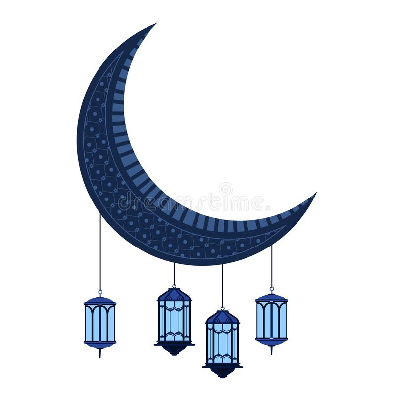 与阿拉伯灯的月亮 ramadan的kareem 库存例证
