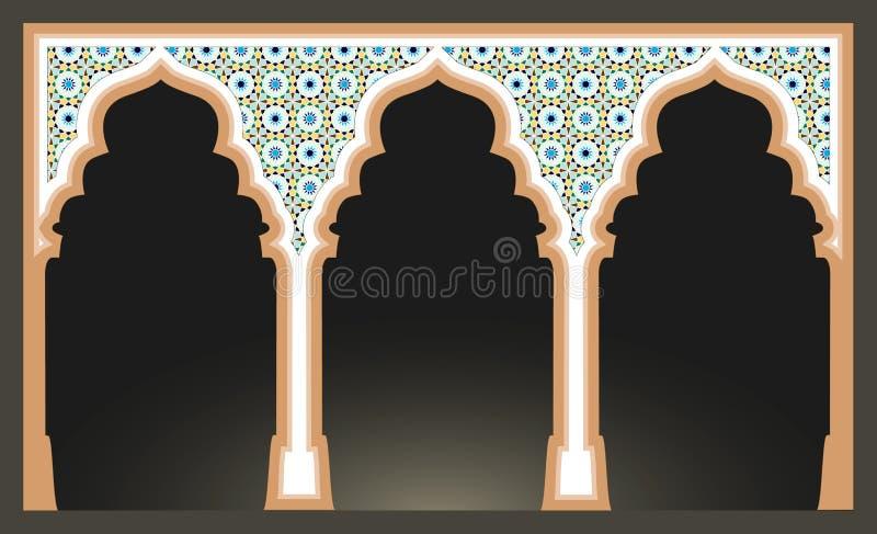与阿拉伯马赛克样式的伊斯兰教的弧 清真寺专栏 皇族释放例证