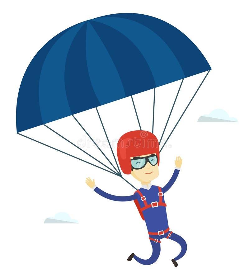 与降伞的年轻愉快的人飞行 皇族释放例证