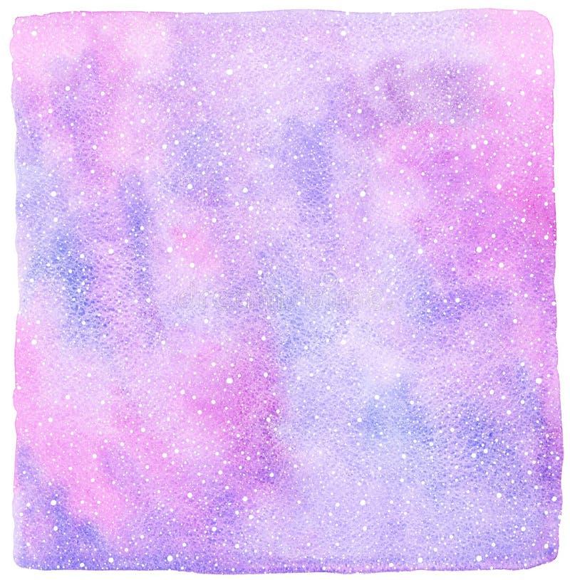 与降雪纹理的桃红色和淡紫色冬天水彩背景 皇族释放例证