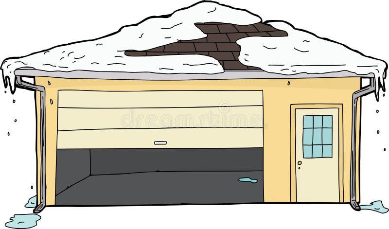 与陷进的门和雪的被隔绝的车库 库存例证