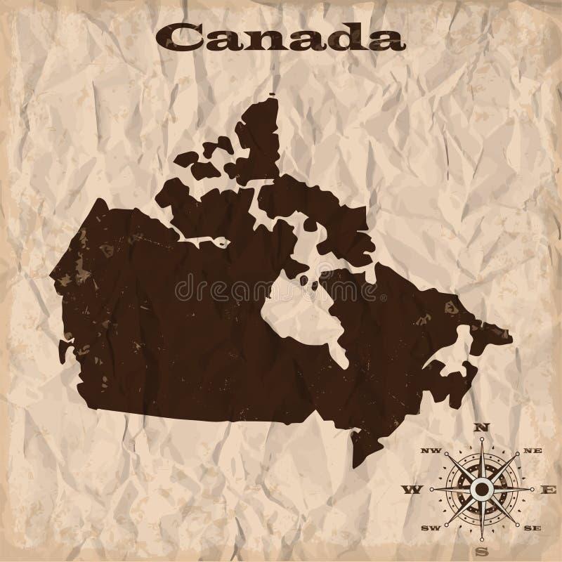 与难看的东西和被弄皱的纸的加拿大老地图 也corel凹道例证向量 库存例证