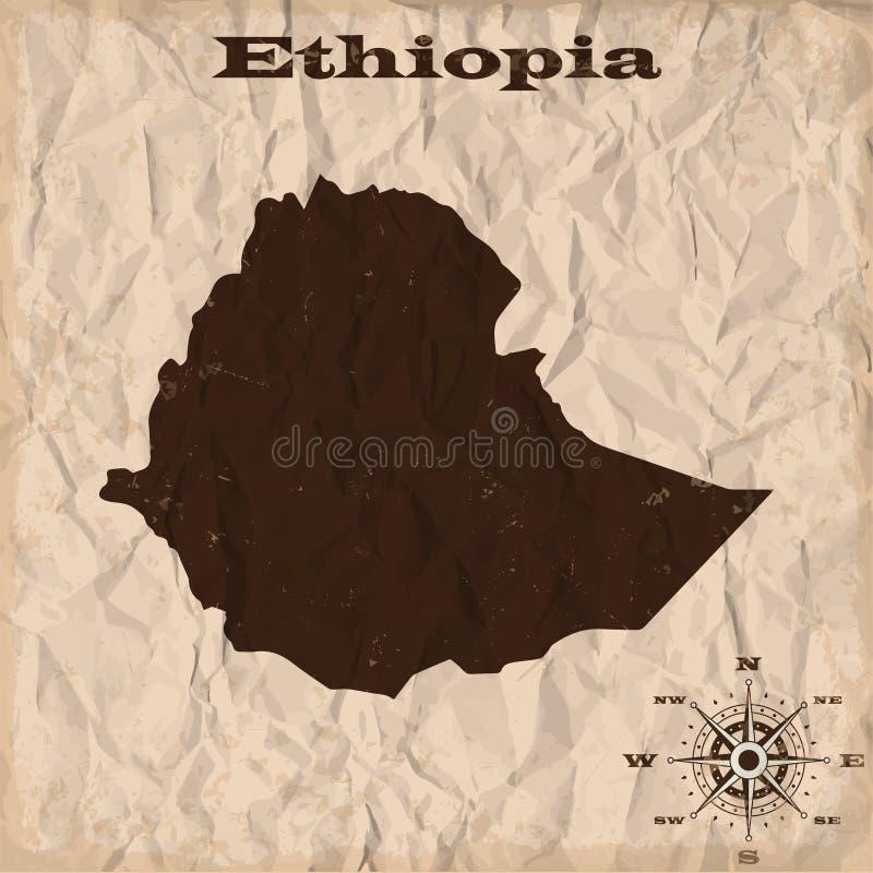 与难看的东西和被弄皱的纸的埃塞俄比亚老地图 也corel凹道例证向量 向量例证