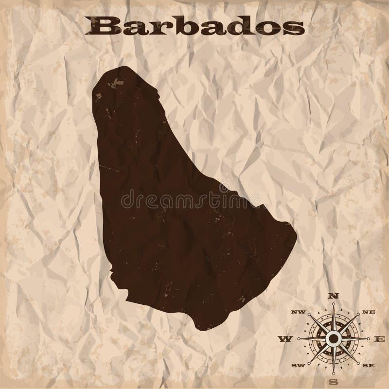 与难看的东西和被弄皱的纸的巴巴多斯老地图 也corel凹道例证向量 库存例证