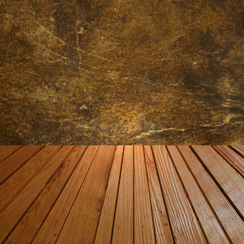 与难看的东西墙壁和木地板的抽象背景 库存图片