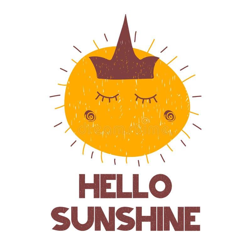 与难看的东西字法你好阳光和动画片手拉的太阳的卡片与冠和光芒 也corel凹道例证向量 皇族释放例证