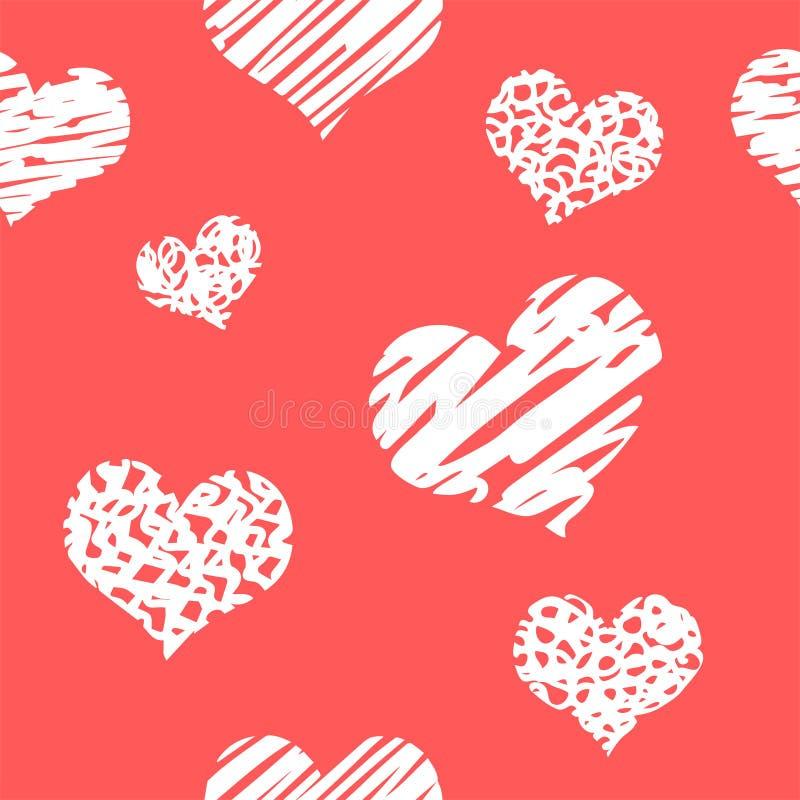 与难看的东西心脏的手拉的背景 表面上的无缝的脏的墙纸 与许多爱标志的混乱纹理 可爱的patte 库存照片