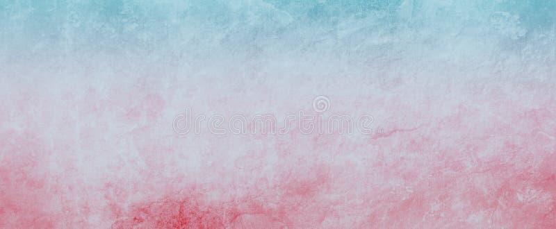 与难看的东西纹理和退色的红色和蓝色边界的老白皮书或羊皮纸背景例证 库存例证