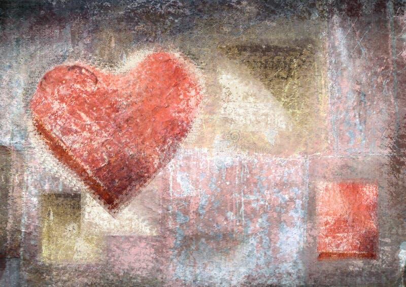 与难看的东西纹理的抽象葡萄酒背景 蜡笔心脏 向量例证