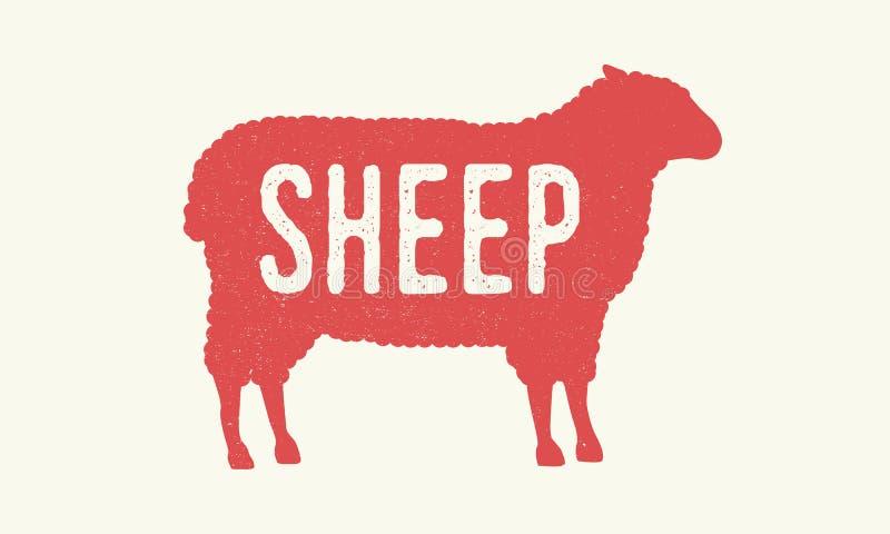 ?? 与难看的东西纹理的绵羊剪影 葡萄酒海报 E r 皇族释放例证