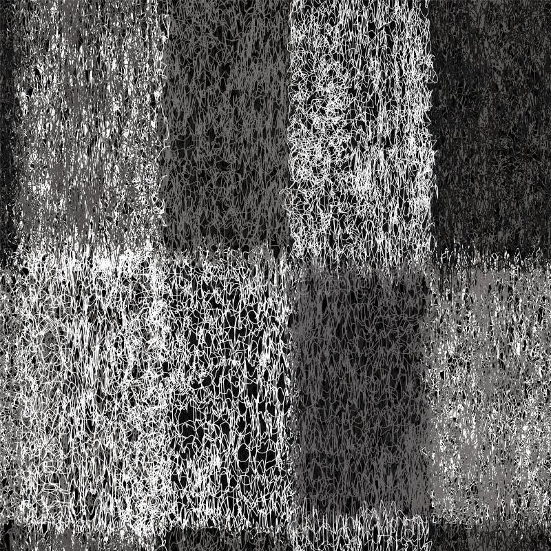 与难看的东西织法特里长方形元素的无缝的样式在黑白设计 向量例证