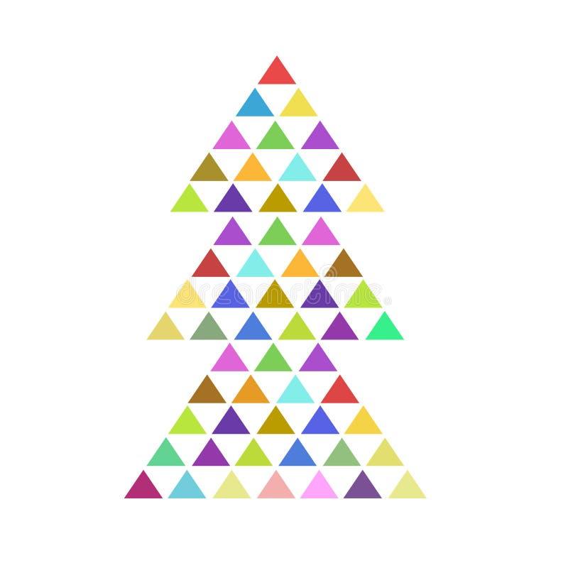 与难题三角的五颜六色的冷杉木商标象在白色,储蓄传染媒介例证 皇族释放例证
