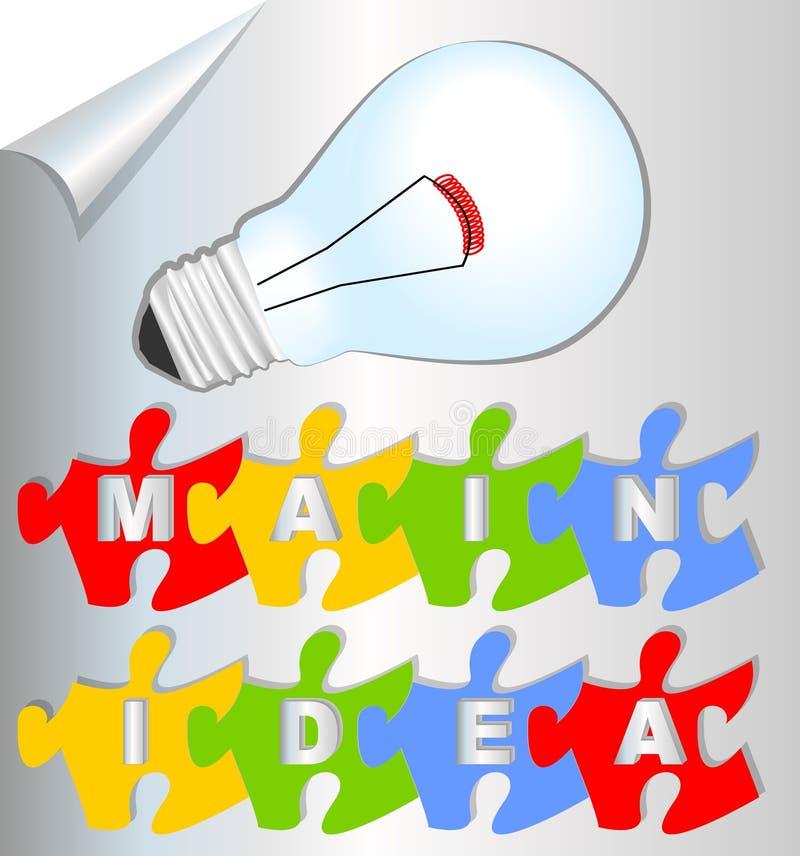 与难题元素和电灯泡的介绍幻灯片主要想法 皇族释放例证
