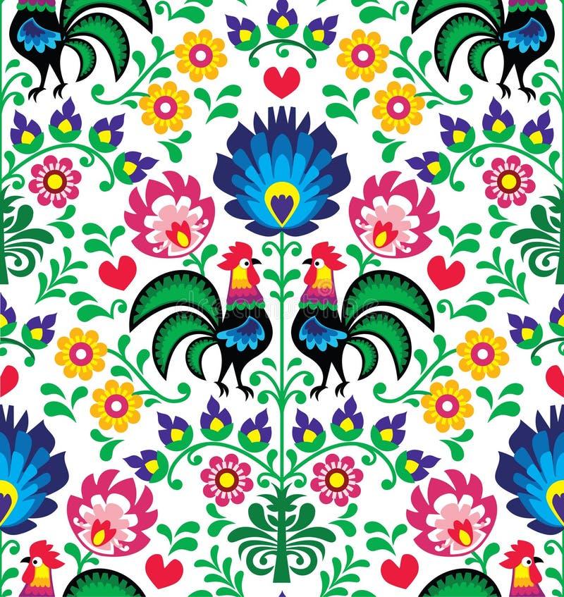 与雄鸡的无缝的传统花卉波兰样式- Wzory Å  owickie 库存例证