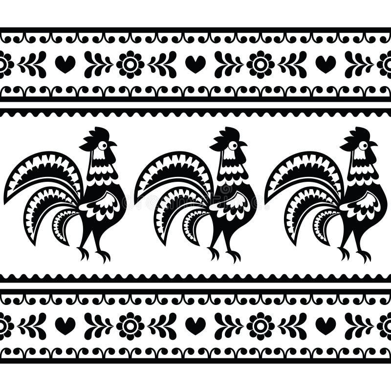 与雄鸡的无缝的波兰单色民间艺术样式- Wzory lowickie 库存例证