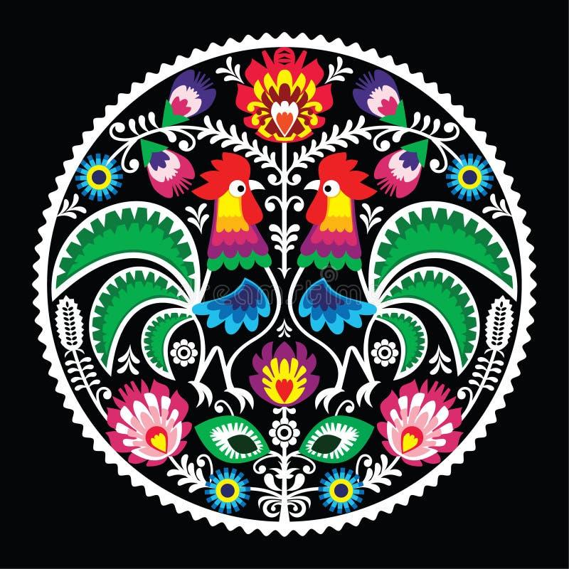 与雄鸡的波兰花卉刺绣-传统民间样式 库存例证