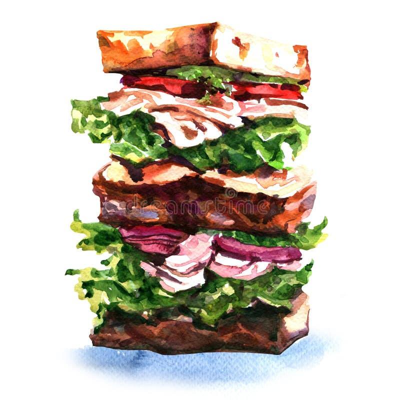 与集会、菜和沙拉的大三明治 皇族释放例证