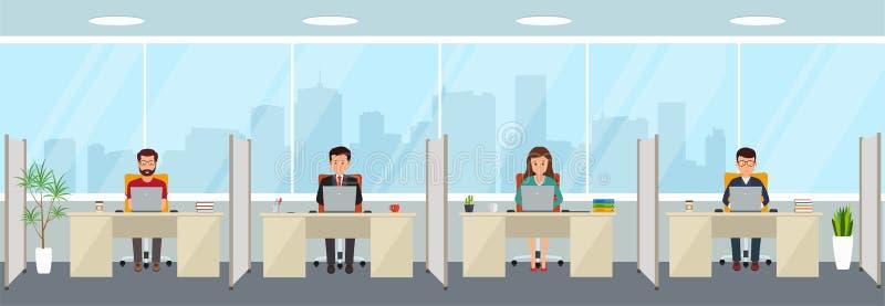 与雇员的现代办公室内部 创造性的办公室工作区 库存例证