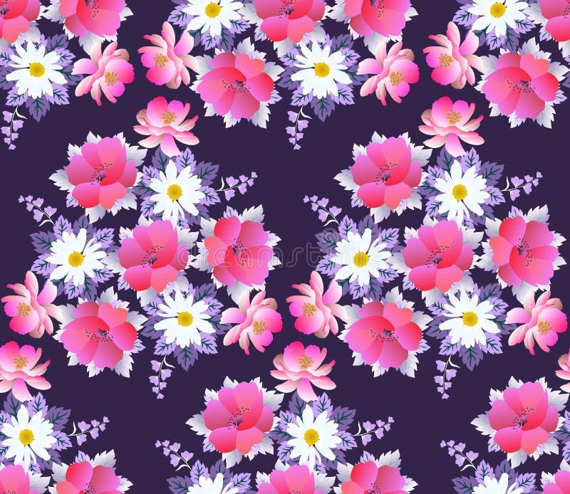 与雏菊、鸦片、波斯菊和吊钟花花束的无缝的花卉样式在黑暗的紫色背景 浪漫印刷品 向量例证