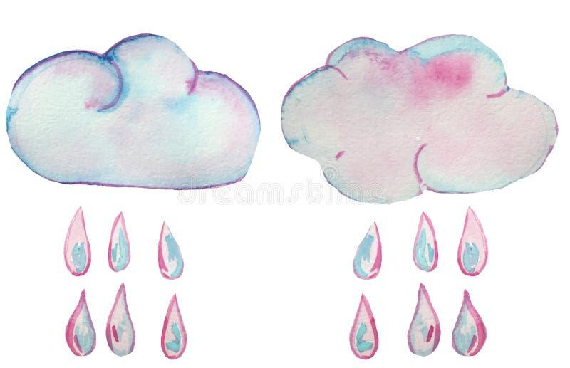 与雨下落的被绝缘的彩虹云彩在白色背景 印刷品和海报的水彩例证 库存例证