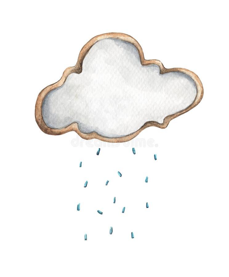 与雨下落的逗人喜爱的雨云 食物例证 婴孩的卡片设计 皇族释放例证