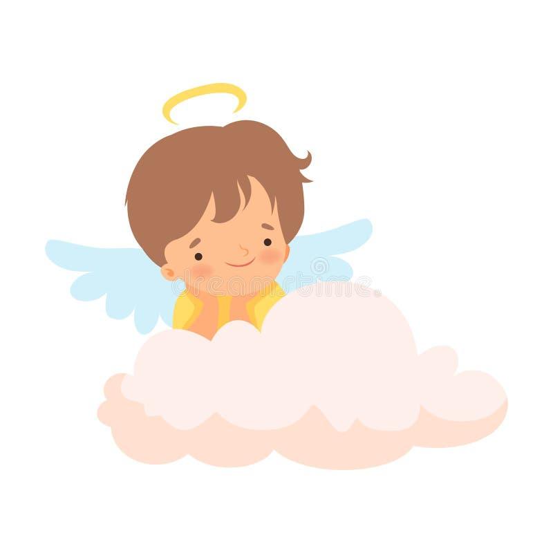 与雨云和翼的逗人喜爱的男孩天使坐云彩、可爱宝宝卡通人物在丘比特或天使服装传染媒介 向量例证