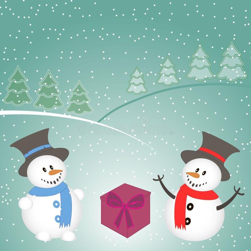 与雪人、树、礼物和雪花的圣诞节背景 库存照片