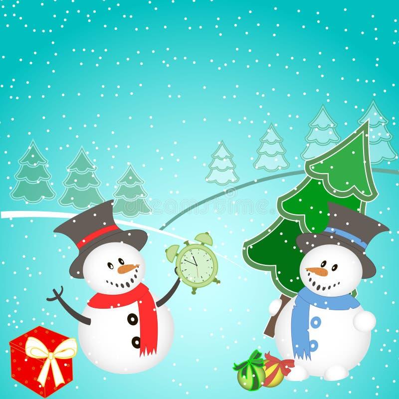 与雪人、树、礼物和雪花的圣诞节背景 图库摄影