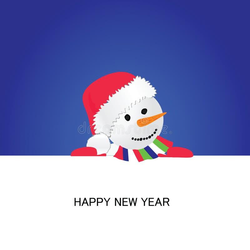 与雪人动画片传染媒介的新年好 向量例证