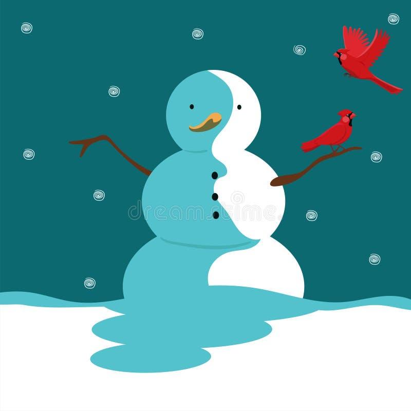 与雪人和一只红色主要鸟的贺卡 o 库存例证