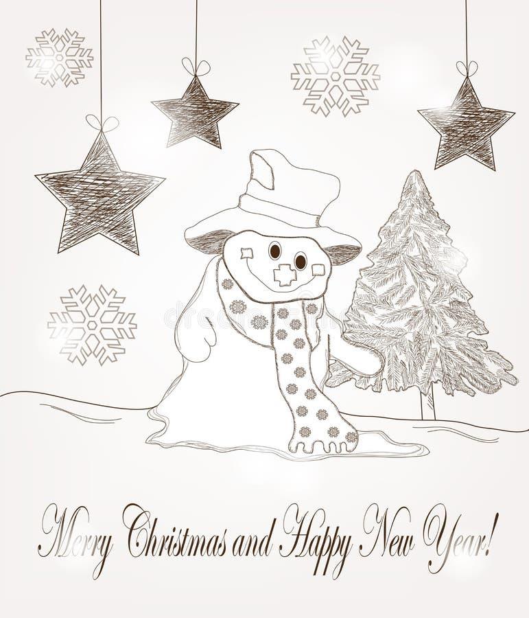 与雪人和冷杉的圣诞节明信片 向量例证