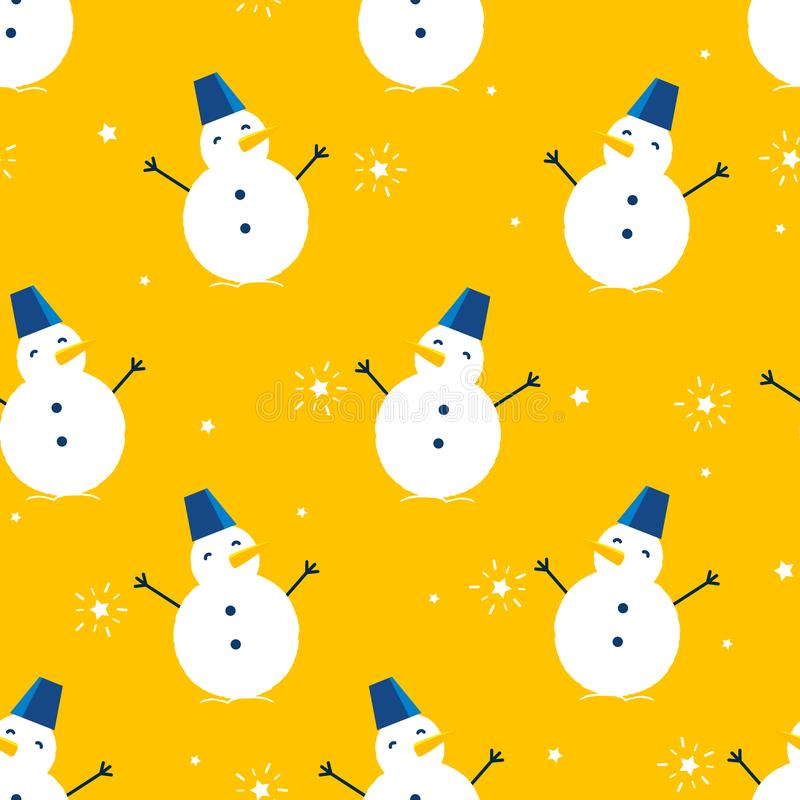 与雪人和星的冬天样式在橙色背景 纺织品和包裹的装饰品 向量 向量例证