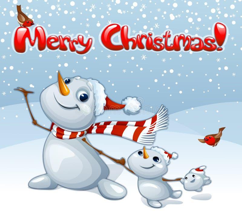 与雪人家庭的圣诞快乐卡片 向量例证