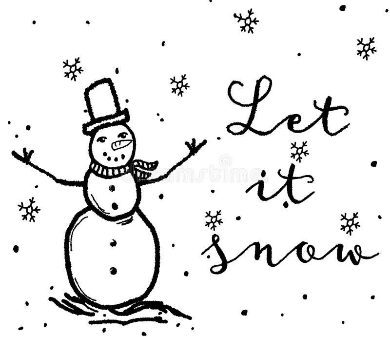 与雪人的圣诞节例证 库存照片