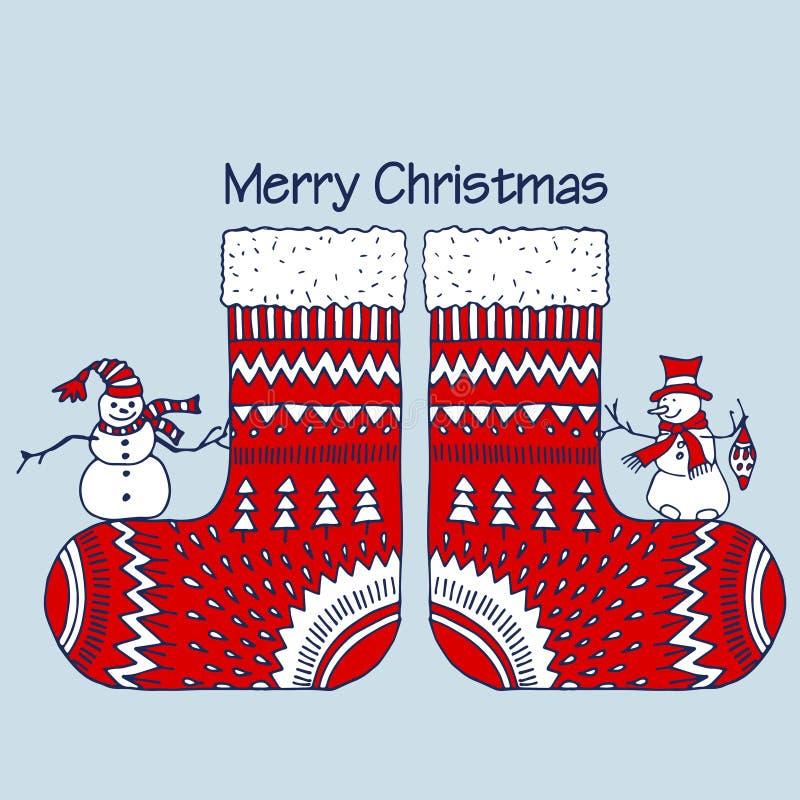 与雪人的圣诞节红色袜子 皇族释放例证