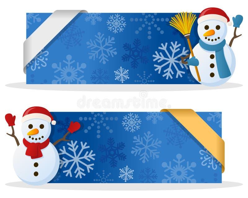 与雪人的蓝色圣诞节横幅 皇族释放例证