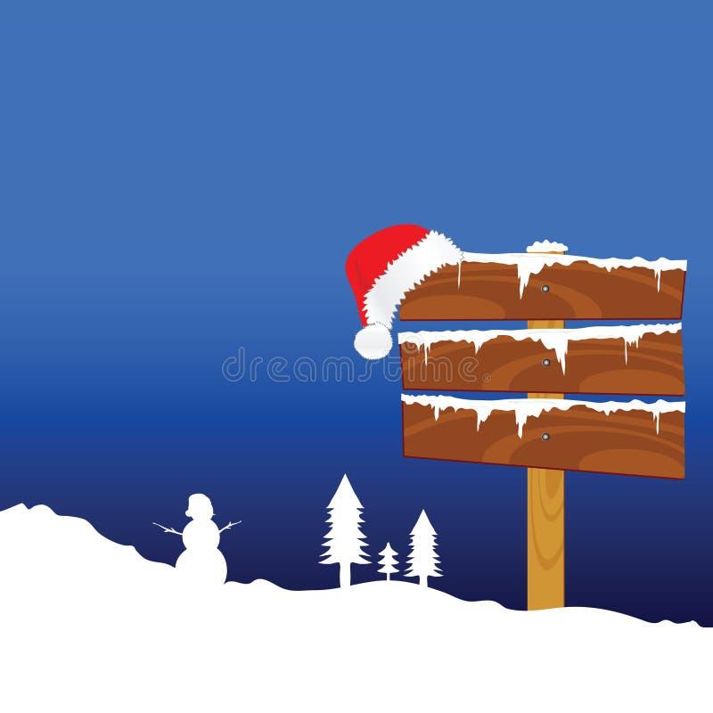 与雪人颜色传染媒介例证的冬天田园诗 向量例证