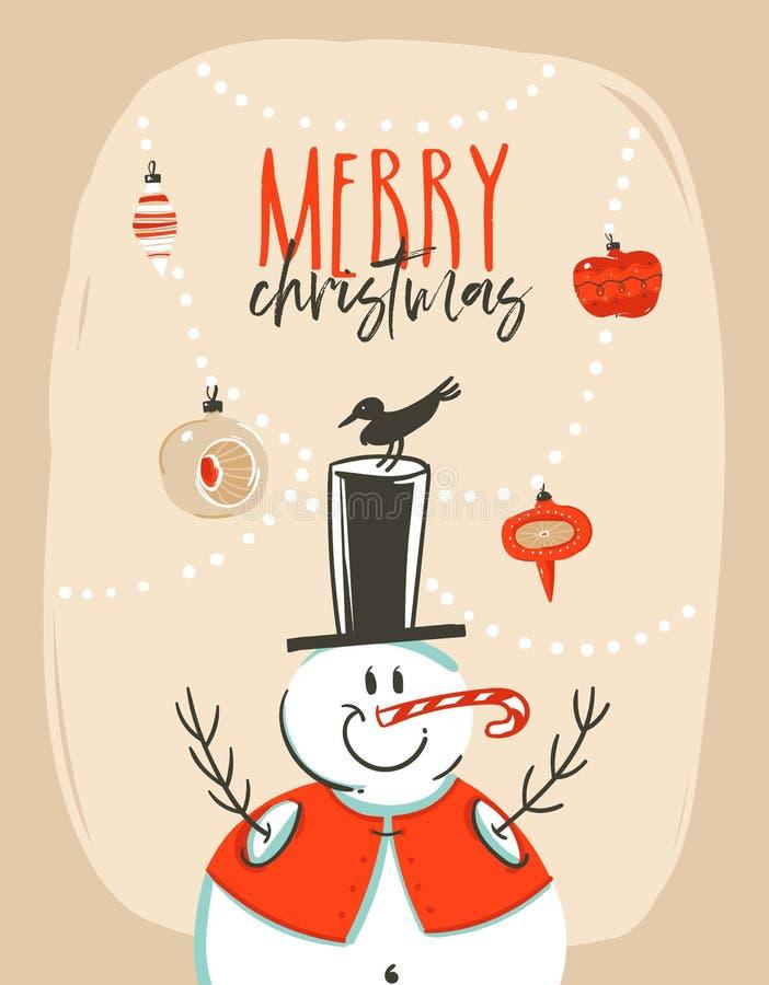 与雪人, xmas树中看不中用的物品的手拉的传染媒介摘要乐趣圣诞快乐时间动画片例证贺卡标记 皇族释放例证